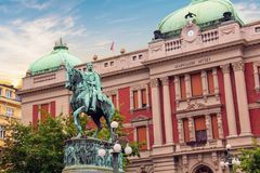 Free Prince Mihailo Monument On The Background Of The Building Of The National Museum Royalty Free Stock Images - 101448819