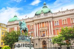 Free Prince Mihailo Monument On The Background Of The Building Of The National Museum Stock Image - 101451011