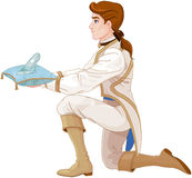 Prince Presents a Glass Slipper Stock Photo