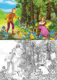 Prince and princes in the forest - romantic scene - image for different fairy tales Stock Photos