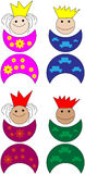 Prince and princess. Colored crowns happy Royalty Free Stock Photo
