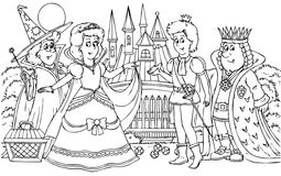 Prince and Princess. Black-and-white illustration for a coloring book: prince, princess, king and fairy Royalty Free Stock Image