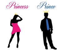 Prince and princess. Prom with some nice writings. Eps8, vector, easy resizing or change colors stock illustration