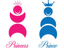 Prince and princess. Crowns with some nice writings. Eps8, vector, easy resizing or change colors vector illustration