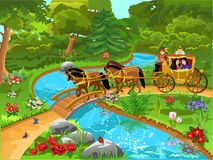 Prince and Princess carriage on a path in a beautiful landscape Vector Illustration