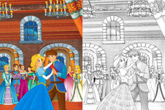 Prince and princess in the castle chamber - talking or dancing - prince is princess to dance - beautiful manga girls Stock Photography