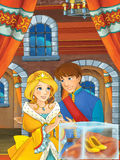 Prince and princess in the castle hall - talking - gold shoes that belong to princess is in special glass exposition Royalty Free Stock Photo