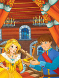 Prince and princess in the castle hall - talking - prince is holding shoe that belongs to princess Stock Image