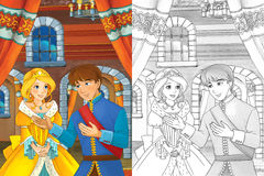 Prince and princess in the castle hall - talking - prince is princess are going to dance - beautiful manga girl - coloring page Stock Images