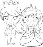 Prince and Princess Coloring Page 1. Vector illustration coloring page of a prince and princess holding hands and smiling vector illustration