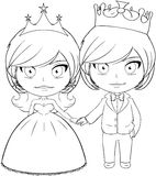Prince and Princess Coloring Page 3. Vector illustration coloring page of a prince and princess holding hands and smiling stock illustration