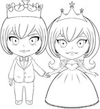 Prince and Princess Coloring Page 2. Vector illustration coloring page of a prince and princess holding hands and smiling royalty free illustration
