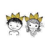 Prince and princess with crown on head for your design. Vector illustration Stock Photography