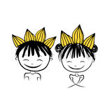 Prince and princess with crown on head for your design. Vector illustration Royalty Free Stock Photos