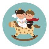 Prince and Princess. Cute vector wedding card. Bride and groom - Prince and Princess Stock Photos