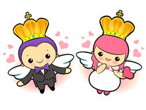 The prince and the princess flying Mascot. A couple of Love Char Royalty Free Stock Images