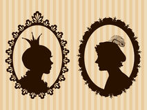 Prince and princess framed silhouettes Stock Image