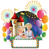 A prince and a princess in front of a castle with an empty signa Royalty Free Stock Images