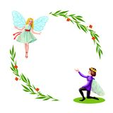Prince and princess with green branches frame Stock Image
