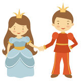 Prince and princess holding hands Royalty Free Stock Image