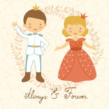 Prince and princess holding hands Stock Images