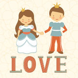 Prince and princess holding hands Royalty Free Stock Photos