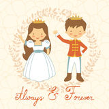 Prince and princess holding hands Royalty Free Stock Images