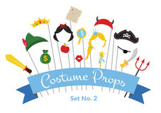 Prince and Princess Party set - photobooth props - mustaches, wigs and objects - vector Royalty Free Stock Photo