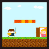 Prince And Princess. Pixel art swordsman prince running to his princess staying behind the door in location with sky and clouds, grass, soil and brick wall Stock Photos