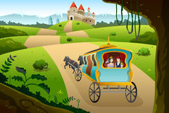 Prince and princess riding a wagon Royalty Free Stock Images