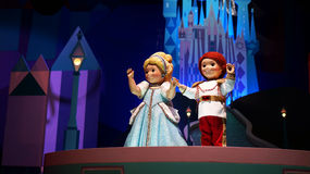 Prince and Princess at It's A Small World. Dolls depicting a prince and a princess inside the famous It's A Small World ride in Hong Kong Disneyland Royalty Free Stock Image