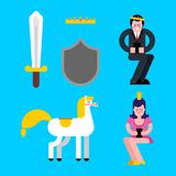 Prince and Princess set. Shield and sword. Crown and White horse. Kings son Vector illustration Royalty Free Stock Images