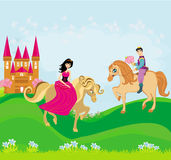 Prince and princess on their horses. Illustration Stock Photo