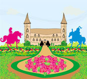 Prince and princess on their horses. Illustration Royalty Free Stock Image