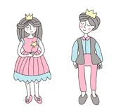 The Prince and Princess. Vector illustration in simple style, isolated on white. The Prince and Princess. Vector illustration in simple style, isolated on white Royalty Free Stock Photography