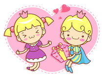 The prince proposed to Love is princess Mascot. A couple of Love Royalty Free Stock Images