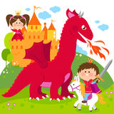 Prince protecting a beautiful princess from the evil dragon. Vector illustration of a handsome prince fighting a fire breathing dragon and saving the beautiful Royalty Free Stock Photo