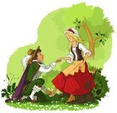 Prince putting the glass slipper on Cinderella vector illustration