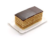 Prince Regent cake, thin layers of biscuit with chocolate Stock Images