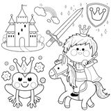 Prince riding a horse fairytale set coloring page Stock Photography