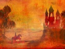 Prince riding a horse to the castle Stock Photos