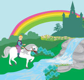 Prince riding a horse to the castle Royalty Free Stock Photos