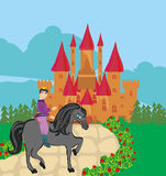 Prince riding a horse to the castle Stock Image