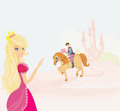 Prince riding a horse to the princess Stock Photography