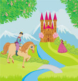 Prince riding a horse to the princess Stock Photo