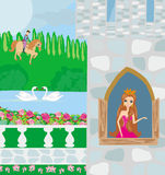 Prince riding a horse to the princess. Illustration Royalty Free Stock Photos