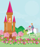 Prince riding a horse to the princess. Illustration Stock Image