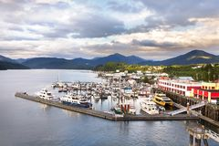 The Cow Bay Marine harbor at Prince Rupert, BC, Canada. Prince Rupert, British Columbia, Canada - August 24th, 2017: Aereal view of the Cow Bay Marine harbor in Royalty Free Stock Image