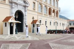 Guards changing near Prince`s Palace of Monaco stock photography