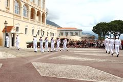 Marching guards near Prince`s Palace, Monaco Royalty Free Stock Photo